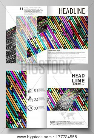 Business templates for bi fold brochure, magazine, flyer, booklet or annual report. Cover design template, easy editable vector, abstract flat layout in A4 size. Colorful background made of stripes. Abstract tubes and dots. Glowing multicolored texture.