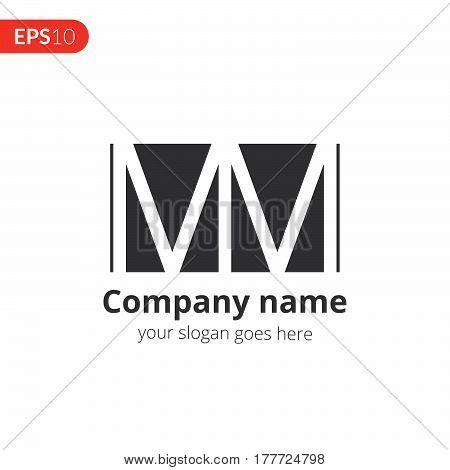 M and M letter logo vector design. Abstract business logo. Monochrome monogram icon template. Grey color symbol on isolated white background.