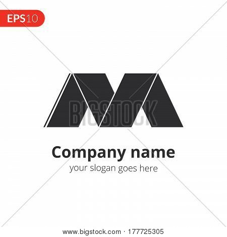 M letter logo vector design. Abstract business logo. M monochrome symbol for template. Grey color icon on isolated white background.