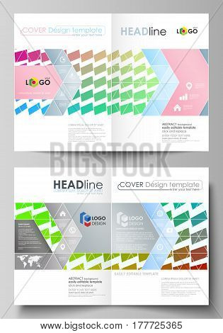 Business templates for bi fold brochure, magazine, flyer, booklet or annual report. Cover design template, easy editable vector, abstract flat layout in A4 size. Colorful rectangles, moving dynamic shapes forming abstract polygonal style background.