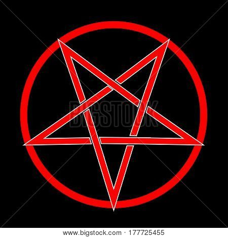 The five pointed pentagram over a black background