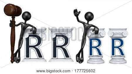 Lawyer Leaning On A Letter R The Original 3D Character Illustration