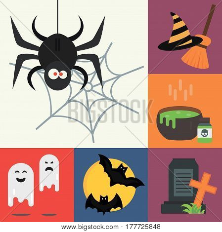 Halloween vector icons set traditional trick or treat celebration cemetery collection and darkness decoration design fantasy fear vector illustration. October ghost magic party symbol.