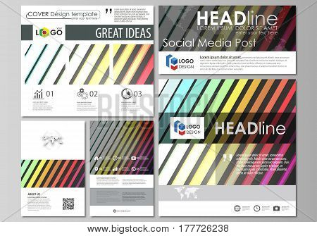 Social media posts set. Business templates. Easy editable abstract flat design template, layouts in popular formats, vector illustration. Bright color rectangles, colorful design with geometric rectangular shapes forming abstract beautiful background.