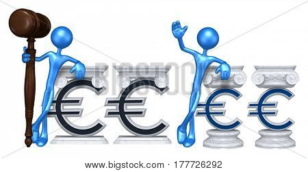 Lawyer Leaning On A Euro Sign The Original 3D Character Illustration