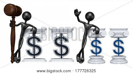 Lawyer Leaning On A Dollar Sign The Original 3D Character Illustration