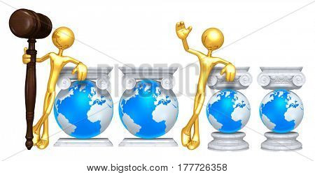 Lawyer Leaning On A Globe The Original 3D Character Illustration