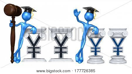 Education Lawyer Leaning On A Yen Sign The Original 3D Character Illustration