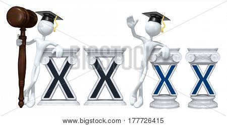 Education Lawyer Leaning On A Letter X The Original 3D Character Illustration