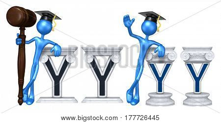 Education Lawyer Leaning On A Letter Y The Original 3D Character Illustration