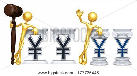 Lawyer Leaning On A Yen Sign The Original 3D Character Illustration