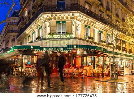 Paris France-March 23 2017: The famous cafe Les deux magots located on Saint-Germain boulevard .It was once home for to intellectual stars from Hemingway to Picasso.