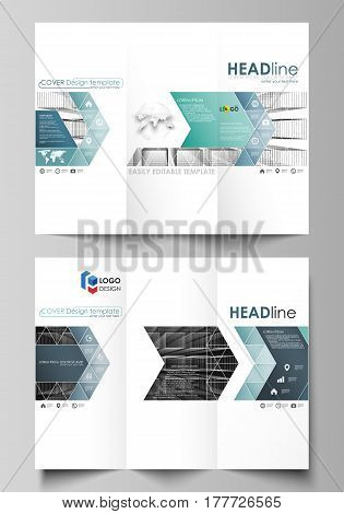 Business templates in HD format for presentation slides. Easy editable abstract vector layouts in flat design. Abstract infinity background, 3d structure with rectangles forming illusion of depth and perspective.