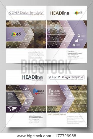 Business templates for bi fold brochure, magazine, flyer, booklet or annual report. Cover design template, easy editable vector, abstract flat layout in A4 size. Abstract multicolored backgrounds. Geometrical patterns. Triangular and hexagonal style.