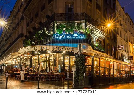 Paris France-March 23 2017: The famous cafe de Flore located at the corner of boulevard Saint Germain and rue Saint Benoit. It was once home to intellectual stars from Hemingway to Pablo Picasso.