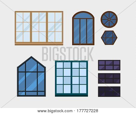 Different types house windows elements isolated set flat style frames domestic door double construction and contemporary decoration apartment vector illustration. Architectural design.