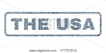 The USA text textile seal stamp watermark. Blue jeans fabric vectorized texture. Vector caption inside rounded rectangular banner. Rubber emblem with fiber textile structure.