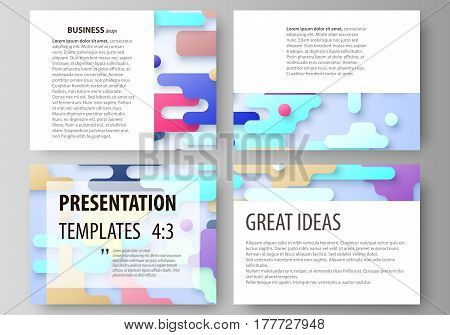 Set of business templates for presentation slides. Easy editable abstract vector layouts in flat design. Bright color lines and dots, colorful minimalist backdrop with geometric shapes forming beautiful minimalistic background.