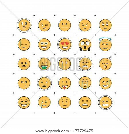 Set of emoticon vector with line isolated on white background. Emoji vector. Smile icon collection. Emoticon icon web. Simple flat style.