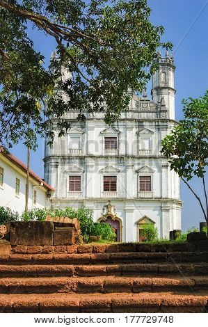 Stone steps leading to Church of St. Francis of Assisi - Roman Catholic church in Old Goa, India.