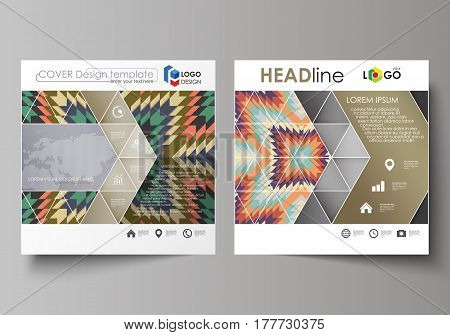 Business templates for square design brochure, magazine, flyer, booklet or annual report. Leaflet cover, abstract flat layout, easy editable vector. Tribal pattern, geometrical ornament in ethno syle, ethnic hipster backdrop, vintage fashion background.