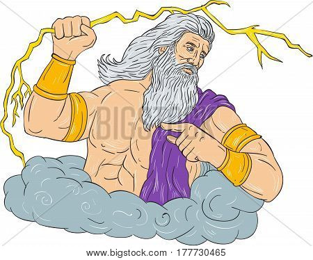 Drawing sketch style illustration of Zeus Greek god of the sky and ruler of the Olympian gods wielding holding a thunderbolt lightning looking to the side set on isolated white background.