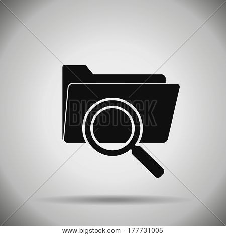 search folder icon . magnifier and folder symbol