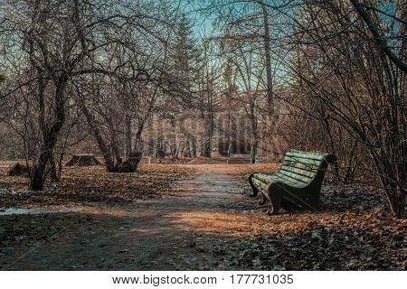 Empty bridge and a bench in autemn park in Saint Petersburg botanical garden