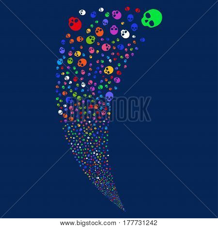 Skull random fireworks stream. Vector illustration style is flat bright multicolored iconic symbols on a blue background. Object fountain combined from scattered pictographs.