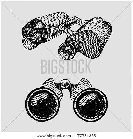 Binocular monocular vintage, engraved hand drawn in sketch or wood cut style, old looking retro scinetific instrument for exploring and discovering