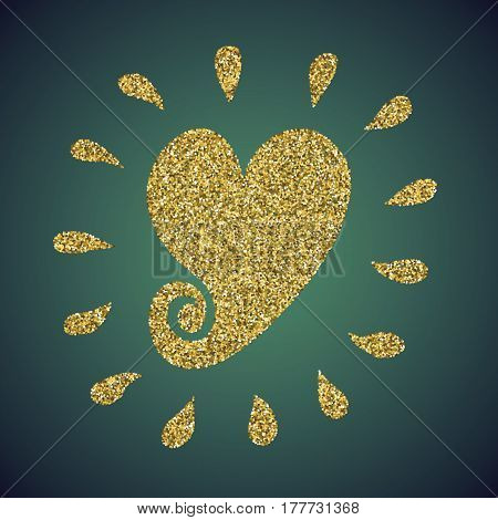 A glamour brilliant jewelry gold glitter in the form of a hand drawn love heart symbol. Elegant decoration of gold round sequins. A small scattering of gold circles in the heart shape