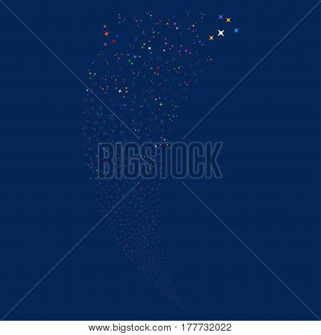 Space Stars random fireworks stream. Vector illustration style is flat bright multicolored iconic symbols on a blue background. Object fountain combined from scattered icons.