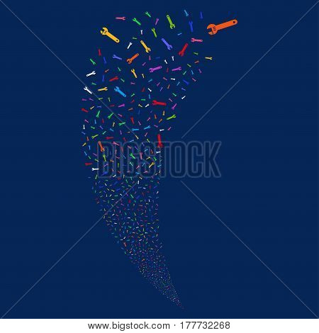 Spanner random fireworks stream. Vector illustration style is flat bright multicolored iconic symbols on a blue background. Object fountain organized from scattered icons.