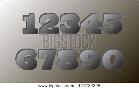 The figures are 1, 2, 3, 4 5 6 7 8 9 0 The volumetric numbers In gray tones mathematics Vector illustration