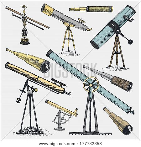 set of astronomical instruments, telescopes oculars and binoculars, quadrant, sextant engraved in vintage hand drawn or wood cut style , old sketch glasses.