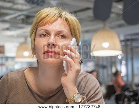 Woman and mobile phone communication