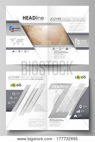 The vector illustration of the editable layout of two A4 format modern cover mockups design templates for brochure, flyer, report. Global network connections, technology background with world map