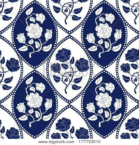 Blooming English roses. Vintage textile collection. White, blue.