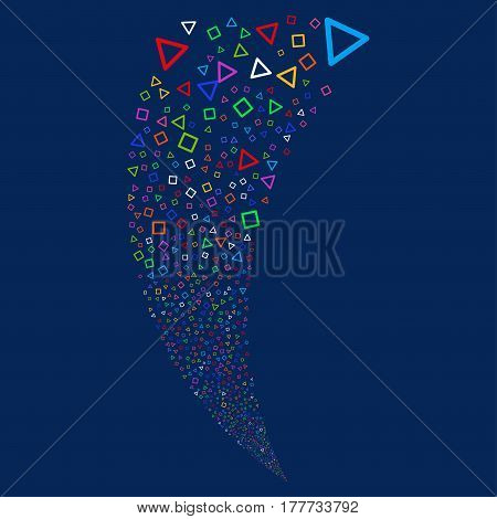 Triangle And Square Frames random fireworks stream. Vector illustration style is flat bright multicolored iconic symbols on a blue background. Object fountain done from scattered pictograms.