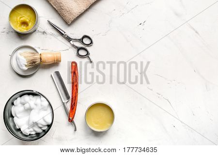 barbershop for men with tools for shaving on white table background top view mock-up