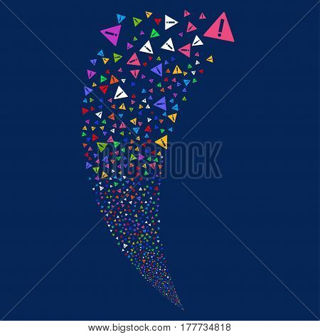 Warning random fireworks stream. Vector illustration style is flat bright multicolored iconic symbols on a blue background. Object fountain created from scattered icons.
