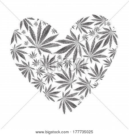 Heart of marijuana or cannabis leaves isolated on white background. Dotted illustration of stylizedcannabis sativa leaf. Stylized dotted leaves.