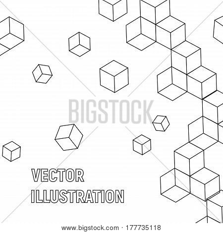 Cube abstract background in black cool geometry
