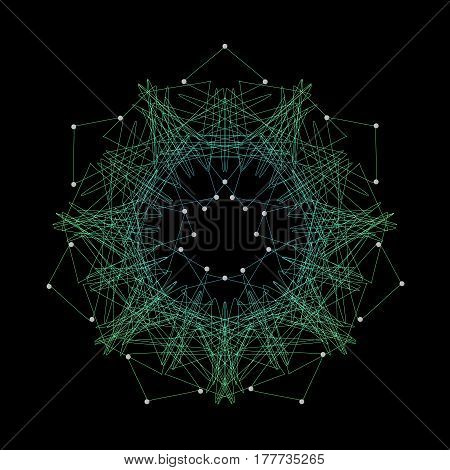 Circle neural network in science concept green colour