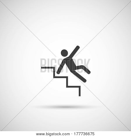 Slippery steps icon . man falling on stairs