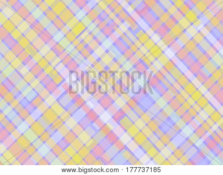 Colorful abstract digital pattern using contrasting light colors in narrow rectangular shapes in a crossover checkered design.