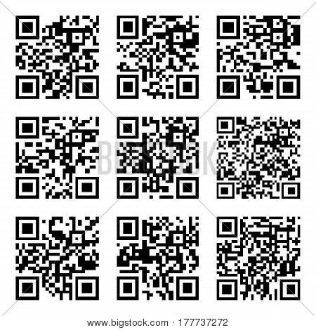 Set of Abstract QR codes. Vector illustration