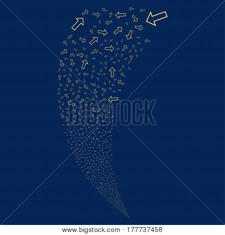 Arrow random fireworks stream. Vector illustration style is flat yellow iconic symbols on a blue background. Object fountain made from scattered pictograms.