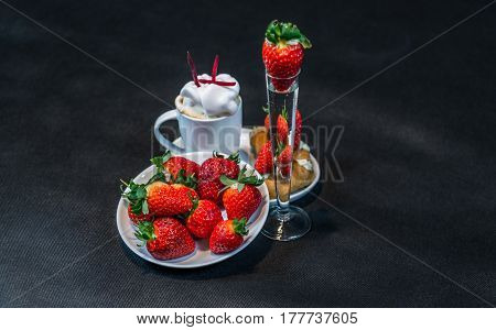 Coffee In White Cup With Whipped Cream, With Croissants On Saucer, Vodka, Strawberry