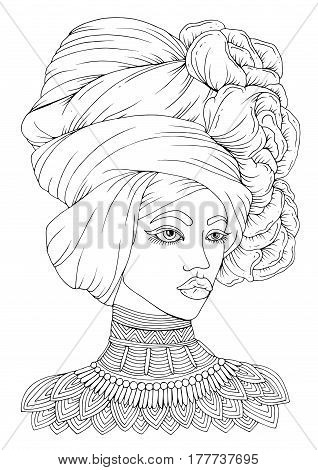 Vector hand-drawn portrait of a young African-American woman. A girl with a voluminous draped kerchief on her head with flowers and a patterned necklace. Decorated Coloring Page A4 size.